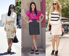 RETA - Veste bem quase todos os biótipos, mas para quem tem quadril mais largo é bom prestar atenção porque a saia não pode ficar justa e marcando.