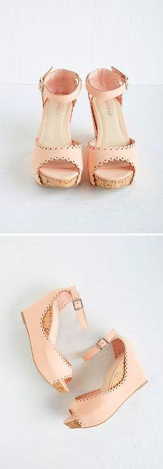 Feminine Pink Wedge Heels