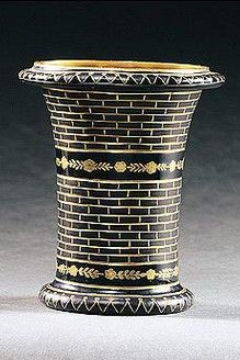 A Bohemian black `Hyalith' beaker, Count Buquoy Glassworks, Georgenthal