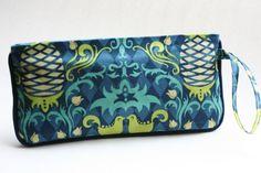 *SOLD - Wristlet Clutch Purse - Blue Pineapples by LovelyTurtle, $22.00