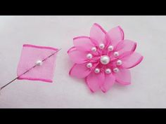 Amazing Ribbon Flower Work - Super Simple Flower That .- Amazing ribbon flower work – super simple flower that makes ideas – hand embroidery tricks – sewing hack, # ribbon flower work Ribbon Flower Tutorial, Ribbon Embroidery Tutorial, Diy Ribbon, Ribbon Work, Silk Ribbon Embroidery, Ribbon Crafts, Flower Crafts, Ribbon Sewing, Bow Tutorial
