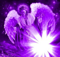 I invoke the Presence of Violet Flame Angels to flow in, through, and around you now. Namaste, Archangel Zadkiel, I Believe In Angels, Angel Pictures, Angels Among Us, Purple Love, Purple Art, Purple Stuff, Angel Art