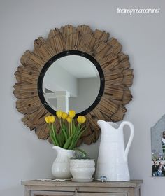 round rustic wood mirror, thinking could make out of shingles and a round mirror. Love this mirror