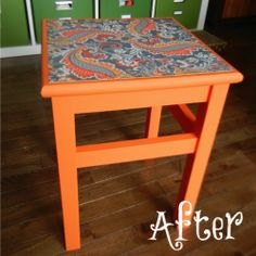 Turn a simple Ikea stool into a beautiful statement piece! Repaint, then put a scrapbook paper on with modge podge and you have a whole new stool!