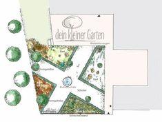 Grundriss eines Gartenkonzeptes für ein Reiheneckhaus. Handgezeichnet, koloriert. Der Garten ist strukturiert durch zwei sich kreuzende breite Wege, mit einem Brunnen in der Mitte der Kreuzung. Food, Landscape Fabric, Landscape Planner, Fountain, Lawn, Floor Layout, Concept, Essen, Meals
