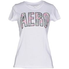 Aéropostale T-shirt ($28) ❤ liked on Polyvore featuring tops, t-shirts, white, white cotton tee, jersey cotton t shirts, jersey tee, white top and cotton jersey