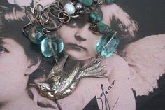 Silver Bird Assemblage Necklace Bird jewelry Bird necklace Vintage Pearls, Vintage Brooches, Vintage Silver, French Vintage, Bird Jewelry, Animal Jewelry, Antique Necklace, Antique Jewelry, Silver Jewelry