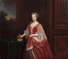 1716 Caroline of Ansbach made by Sir Godfrey Kneller in 1716, now at Buckingham Palace. Caroline wear robes of state and rests her hand on her crown as Princess of Wales. She would become Queen in 1727 on the death of her father-in-law, George I.