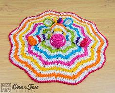 Crochet Rainbow Zebra Lovey Security Blanket Crochet Pattern by One and Two Company Crochet Lovey, Crochet Amigurumi, Crochet Blanket Patterns, Cute Crochet, Baby Blanket Crochet, Crochet For Kids, Crochet Crafts, Crochet Dolls, Crochet Projects