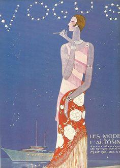 Magazine Vogue cover 1926 Les Mode Automne femme fumer bleu Fashion Illustration Vogue affiche Art déco Home Decor impression Fine Art