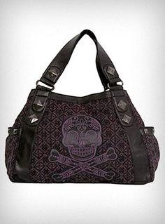 WANT!   Purple Tweed Sugar Skull Bag my bday is coming up. Hint hint!