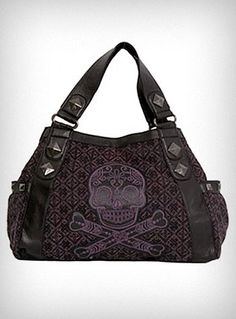 WANT!   Purple Tweed Sugar Skull Bag my bday is coming up. Hint hint!