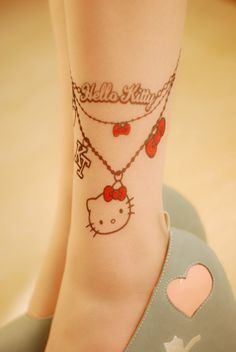 hello kitty tattoo stockings... But would make a great anklet tattoo. Too bad my ankles are already spoken for