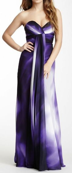 Kind of love everything about this. Dalia MacPhee Long Tonal Ombre Dress on HauteLook Ombre Gown, Ombre Maxi Dress, Purple Dress, Dress Up, Purple Ombre, Pretty Outfits, Pretty Dresses, Beautiful Dresses, Cute Outfits