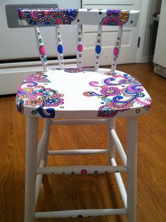 Hand-painted wooden chair