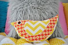 Katie Bird Pillow sewing pattern by Gingercake.  Love the bright colors!