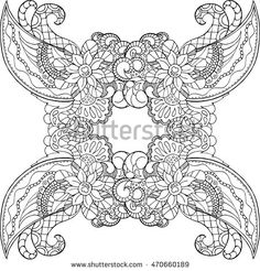 Coloring page with doodle ornament. Adult coloring page in square format with place for text. Vector card for coloring. High-detailed picture outlined on white background. Hand-drawn mandala coloring