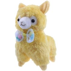 """KSB 7.3"""" Yellow Cute Soft Stuffed Plush Bow Alpaca Cushion Toy... ($8.98) ❤ liked on Polyvore featuring plushies"""