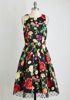 Someday My Prints Will Come Dress. Dreaming of the perfect look is a thing of the past, and its all thanks to this black floral dress! #multi #modcloth