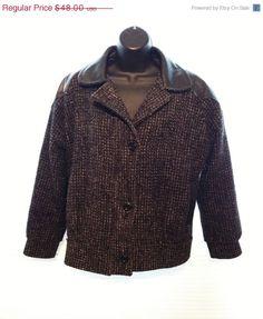 Sale Vintage 1980s Leather Tweed Wool Jacket by BelleJewelNoir