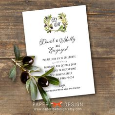 Olive Branch Engagement Party Invitation Printable