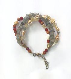 Sea Shell Bracelet Beach Bracelet with by MermaidsBeachJewelry #Seashell #bracelet #labradorite #jewelry #handmade