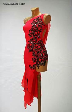 Love this red Latin dress with black lace applique and asymmetric skirt