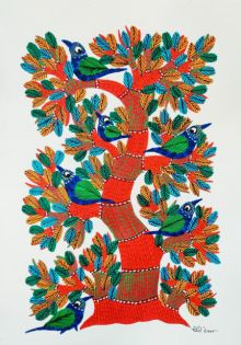 Birds 8 traditional art by Choti Gond Artist | ArtZolo.com