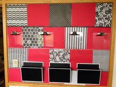 Gave a boring fabric covered bulletin board a facelift with fun paper squares, washi tape and some basic office organization supplies. This simple, cheap step gave a super small office space some much needed pizzazz!