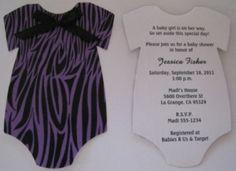 Purple onesie animal print baby shower invitations