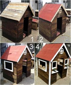 Another idea to create a play cabin for the kids is shown here, it is simple and graceful. It is not only great because the kids will get a space to play inside the home, but it will also adorn the lawn or patio of the home.