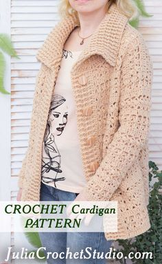 Detailed crochet pattern with lots of photos. Crochet Jumper, Crochet Cardigan Pattern, Crochet Coat, Crochet Clothes, Free Crochet, Tunisian Crochet Patterns, Pullover, Crochet Fashion, Beautiful Crochet