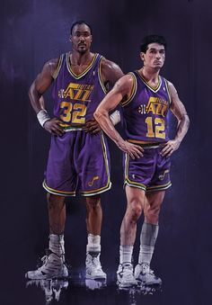 John Stockton & Karl Malone, Utah Jazz - One of the great Duos in #NBA history - RAREINK NBA by Grzegorz Domaradzki, via Behance
