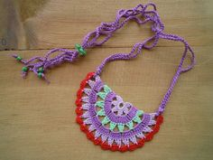 crochet necklace multicolored by PashaBodrum on Etsy