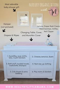 NURSERY ORGANIZATION FOR THE NESTING MOM. Nursery Organization Dresser - Healthy Little Mama. Nursery organization ideas for the nesting mom. How to maximize storage in a small space using your changing table, dresser, and closet shelves Mama Baby, Baby Bedroom, Baby Room Decor, Baby Room Girls, Baby Nursery Ideas For Girl, Nursery Room Ideas, Cheap Nursery Ideas, Nursery Set Up, Baby Nursery Furniture