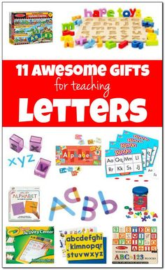 11 awesome toys for teaching letters in fun and playful ways. Through early exposure, children develop the alphabet knowledge crucial for reading success! Creative Activities For Kids, Kids Learning Activities, Alphabet Activities, Playgroup Activities, Learning Toys, Early Learning, Toddler Activities, Teaching Letters, Learning The Alphabet