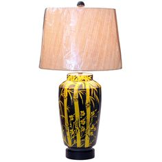 1960s Bagni for Raymor Wax Resist Bamboo Design Italian Pottery Lamp | From a unique collection of antique and modern table lamps at https://www.1stdibs.com/furniture/lighting/table-lamps/