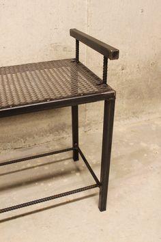 Metal Bench with Mesh Top and Rebar Frame by nakedMETALstudio
