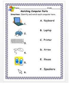 Business Ideas Discover Kindergarten & Grade Matching Computer Parts With The Correct Term Matching Computer PartsDirections: Identify and match each computer term. Computer Lab Rules, Elementary Computer Lab, Computer Lab Lessons, Kids Computer, Computer Teacher, Computer Basics, Computer Class, Technology Lessons, Computer Science