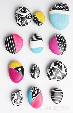 Rock magnets (Alisa Burke) | 5 super easy DIY's to try this weekend