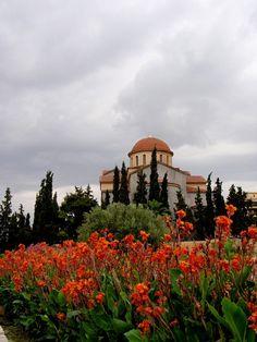 Agia Triada church in bloom