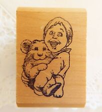 Kidstamps RAY CRUZ Rubber Stamp Boy Holding Pet Hamster