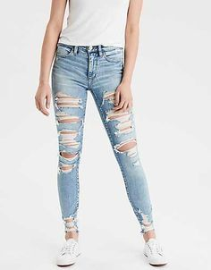 AE Ne(X)t Level High-Waisted JeggingYou can find Ripped jeans and more on our website.AE Ne(X)t Level High-Waisted Jegging High Waisted Black Jeans, High Jeans, High Waist Jeans, Cute Ripped Jeans, All Jeans, Light Ripped Jeans, Jeans Belts, Ripped Jeggings, Ladies Jeans