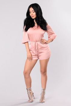 - Available In Peach And Sage - Satin Romper - Off Shoulder - Elastic Waistband - 100% Polyester