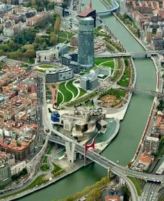 Balmori Associates has transformed Abandoibarra, Bilbao's former industrial center. Building upon the 1997 master plan completed by Balmori Associates, Pelli. Places To Travel, Places To Visit, Rem Koolhaas, Madrid, Frank Gehry, Destinations, Basque Country, Spain And Portugal, Andalusia