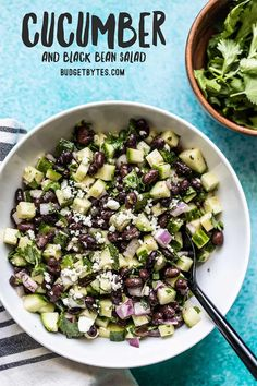 You Have Meals Poisoning More Normally Than You're Thinking That This Light And Fresh Cucumber And Black Bean Salad Is The Perfect Summer Side Dish. It Is Refrigerator Stable So Make It Once And Snack On It All Week Summertime Salads, Summer Salads, Summer Fruit, Clean Eating, Healthy Eating, Healthy Recipes, Cooking Recipes, Fast Recipes, Pork Recipes