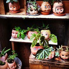 creepy doll head / face pot things . Haha I love this!