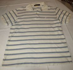Nautica Mens short sleeve polo shirt S cotton off white **tiny spots** GUC <> #Nautica #PoloRugby