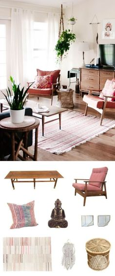 In a space with a totally West Coast, boho vibe, Mid-Century still works its magic. Bohemian-inspired pieces with lots of texture (macrame, wicker), global-inspired patterning, and a zen Buddha sit perfectly beside a classic Mid-Century chair and coffee table.