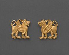Dress ornaments, c.5th century B.C. Northern Black Sea region, possibly from Maikop. Scythian culture. Gold.